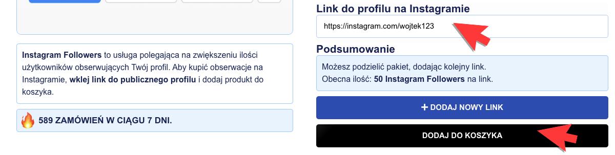 podawanie linku do profilu na instagramie aby kupić obserwujących