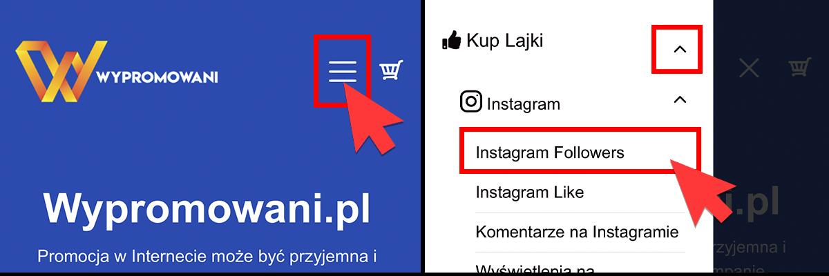 kupowanie obserwujących na instagramie, wybór usługi z menu (smartfon)