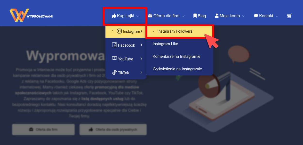kupowanie obserwujących na instagramie, wybór usługi z menu